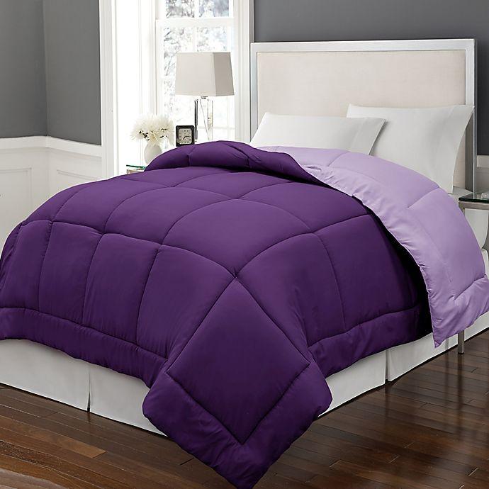 Alternate image 1 for Microfiber Down Alternative Reversible Full/Queen Comforter in Purple/Violet