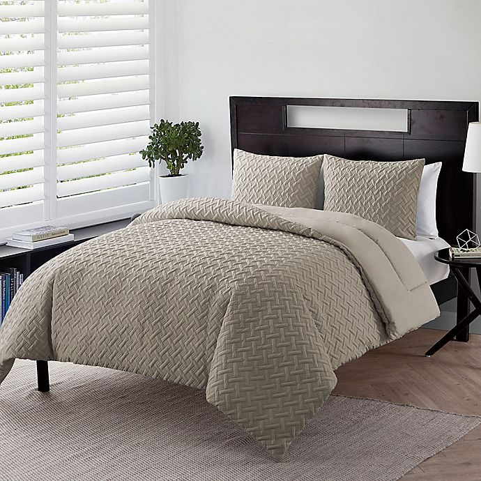 Alternate image 1 for VCNY Home Nina Embossed 3-Piece Full/Queen Comforter Set in Taupe