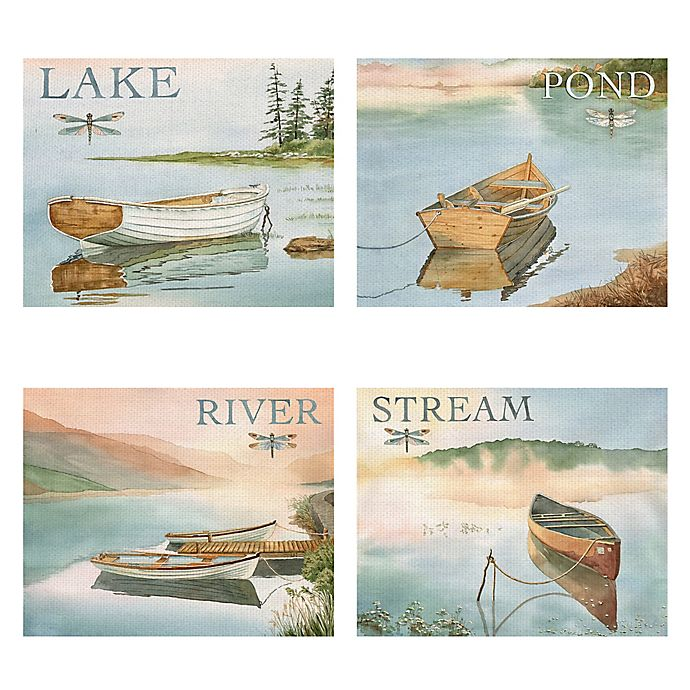 Alternate image 1 for The Lake, Pond, River, & Stream 16-Inch x 20-Inch Canvas Wall Art (Set of 4)