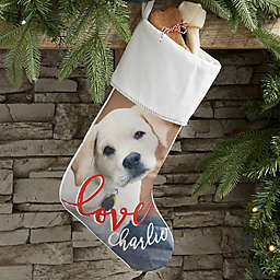 Holiday Photo Memories Personalized Christmas Stocking in Ivory