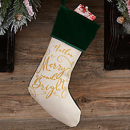 Holiday Carols Personalized Christmas Stocking in Green