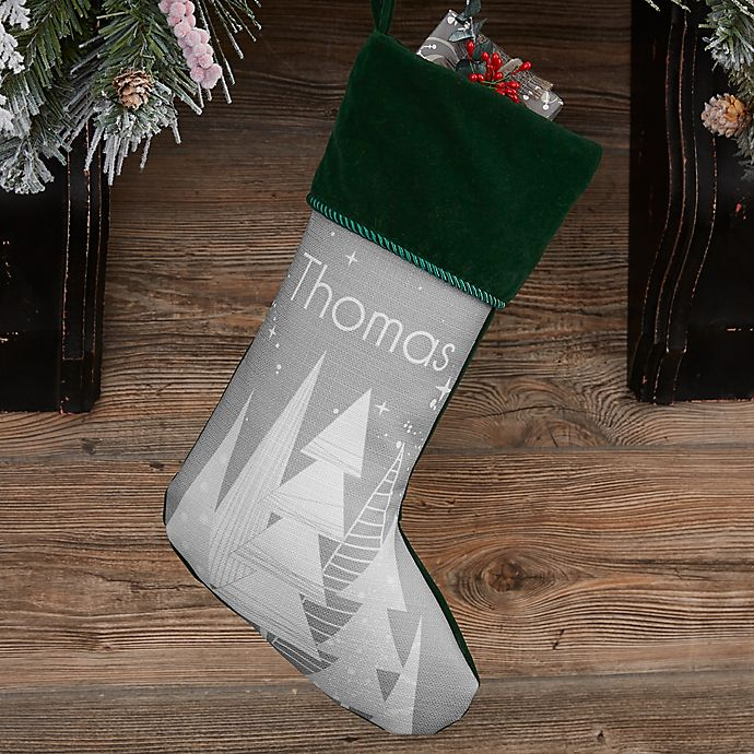 Alternate image 1 for Frosty Neutrals Personalized Christmas Stocking in Green