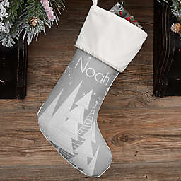 Frosty Neutrals Personalized Christmas Stocking in Ivory