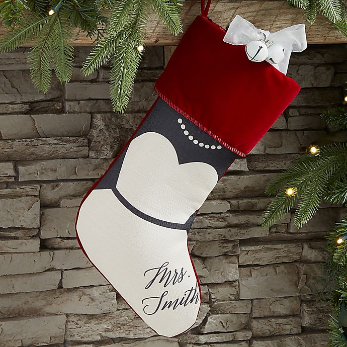 Alternate image 1 for Bride & Groom Personalized Christmas Stocking