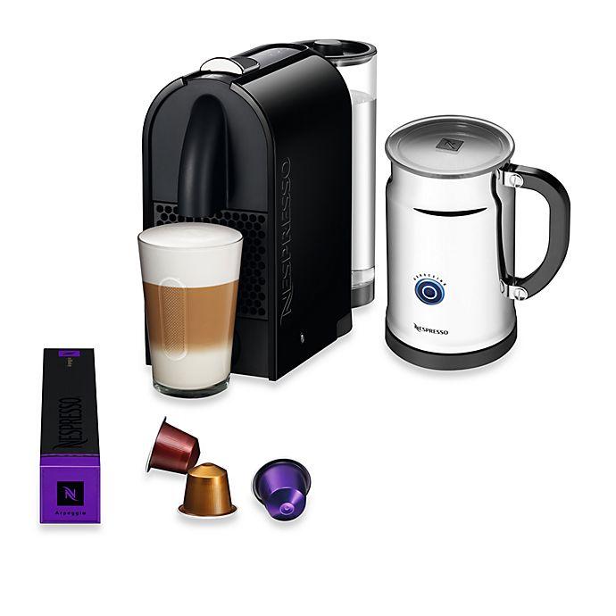 Alternate image 1 for Nespresso® U Espresso Maker and Aeroccino Plus Bundle in Pure Black