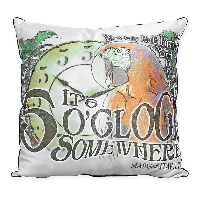 Alternate image 1 for Margaritaville 5 O'Clock Indoor/Outdoor Square Throw Pillow in Grey