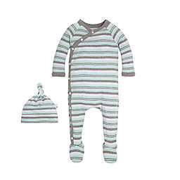 Burt's Bees Baby® Sixties Stripe Coverall & Knot Top Hat Set in Green
