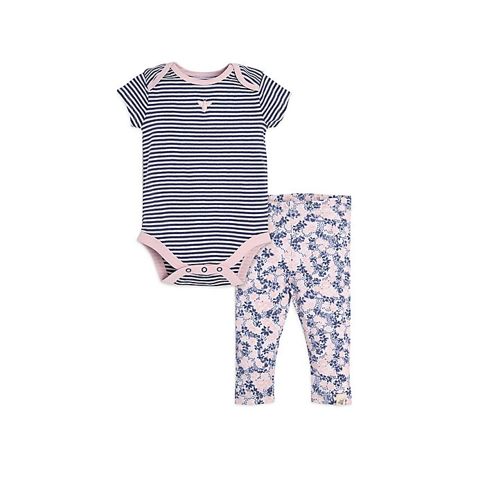 Alternate image 1 for Burt;s Bees Baby; Size 0-3M 2-Piece Bodysuit and Pant Set