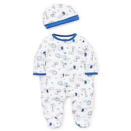 Little Me Safari Footie & Cap Set in Blue