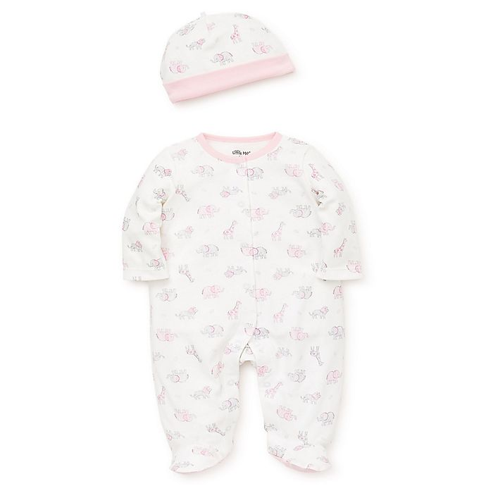 Alternate image 1 for Little Me® Size 3M 2-Piece Safari Footie and Hat Set in Pink