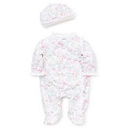 Little Me® 2-Piece Watercolor Floral Footie & Hat Set in Pink