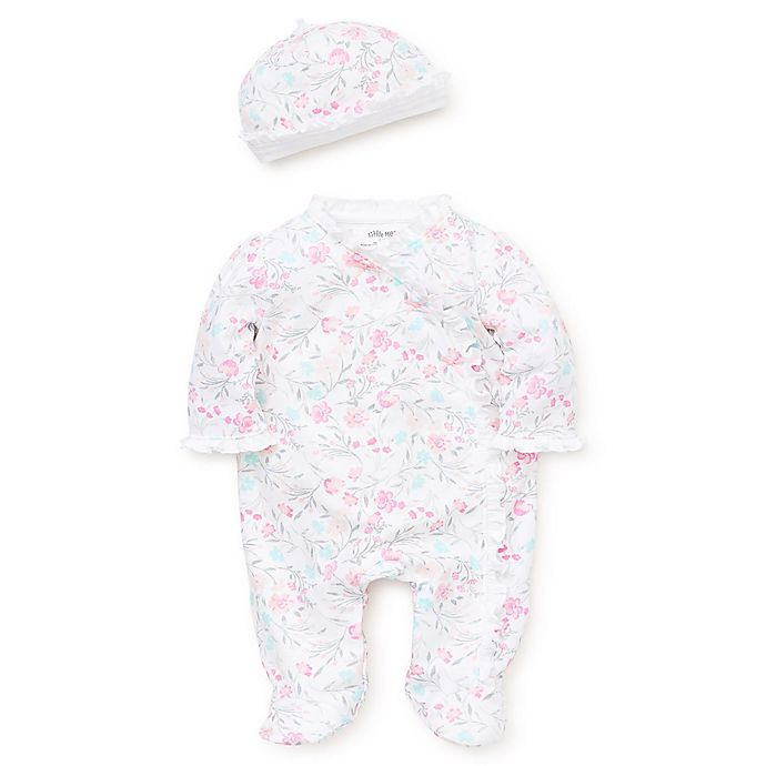 Alternate image 1 for Little Me® 2-Piece Watercolor Floral Footie & Hat Set in Pink