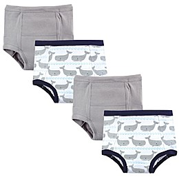 Hudson Baby® 4-Pack Whales Training Pants in Grey