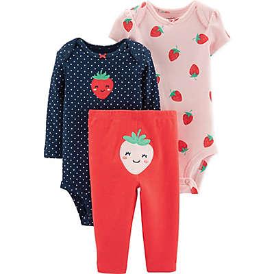 carter's® Preemie 3-Piece Strawberry Bodysuit & Pant Set