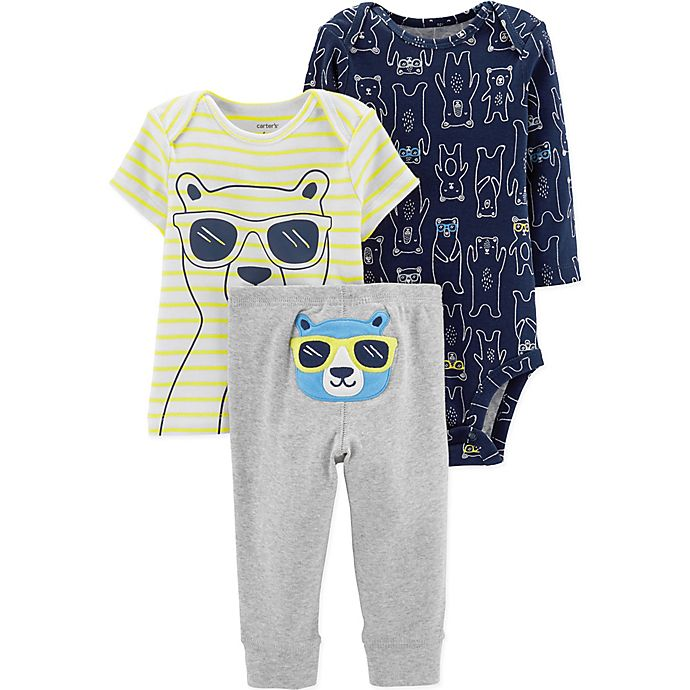Alternate image 1 for carter's® Preemie 3-Piece Bear Bodysuit, Shirt, and Pant Set in Navy/Yellow