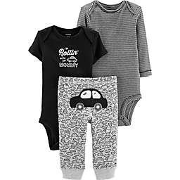 carter's® Preemie 3-Piece Car Bodysuits and Pant Set in Black/White