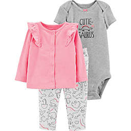 carter's® Preemie 3-Piece Cutie-Saurus Bodysuit, Cardigan and Pant Set in White