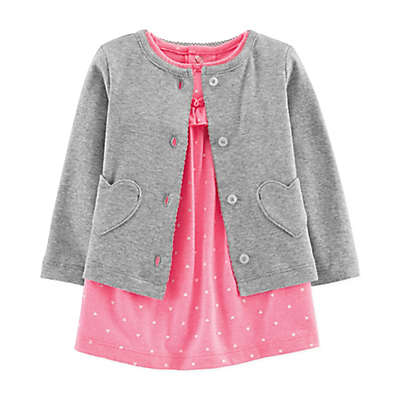 carter's® Preemie 2-Piece Heart Dress and Cardigan Set in Pink