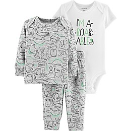 carter's® 3-Piece Preemie Dinosaur Shirt, Bodysuit, and Pant Set in White