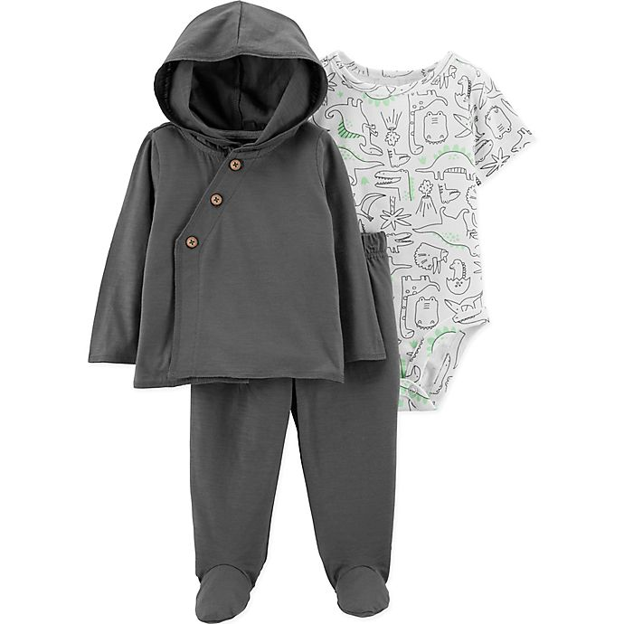 Alternate image 1 for carter's® 3-Piece Preemie Dinosaur Shirt, Bodysuit, and Pant Set in Charcoal