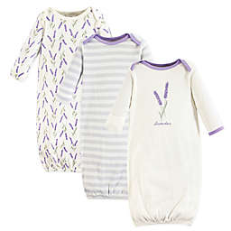 Touched by Nature Size 0-6M 3-Pack Lavender Organic Cotton Gowns in Purple