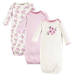 Touched by Nature Size 0-6M 3-Pack Cherry Blossom Organic Cotton Gowns in Pink