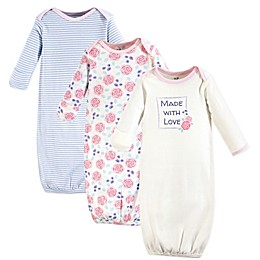 Touched by Nature Size 0-6M 3-Pack Rose Organic Cotton Gowns in Pink