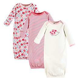 Touched by Nature Size 0-6M 3-Pack Rosebud Organic Cotton Gowns in Pink