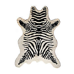Luxe Faux Fur Hide 5-Foot 3-Inch x 7-Foot 6-Inch Rug/Throw in Zebra Black/White