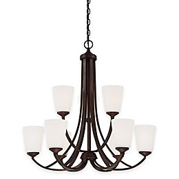 Minka Lavery® Overland Park 9-Light Chandelier in Vintage Bronze with White Etched Glass Shade