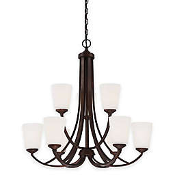 Minka Lavery® Overland Park 9-Light Chandelier with Etched Glass Shade