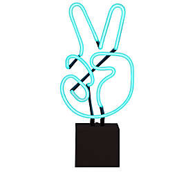Neon Peace Sign Novelty Light in Blue