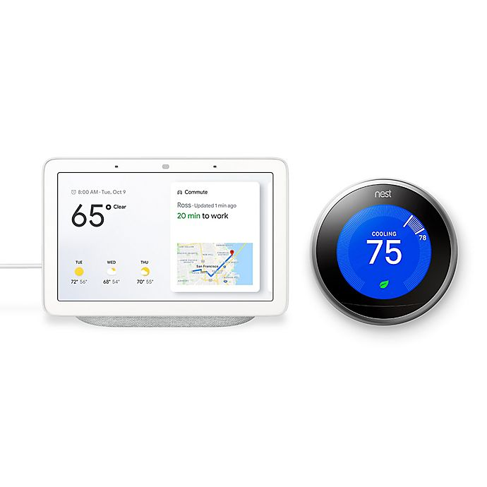 Alternate image 1 for Google Home Hub and Nest® Learning Gen 3 Thermostat Bundle in Chalk