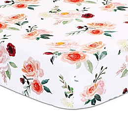 The Peanutshell™ Rose Floral Fitted Crib Sheet in Pink