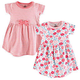 Touched by Nature Size 3T 2-Pack Rosebud Short Sleeve Organic Cotton Dresses in Pink