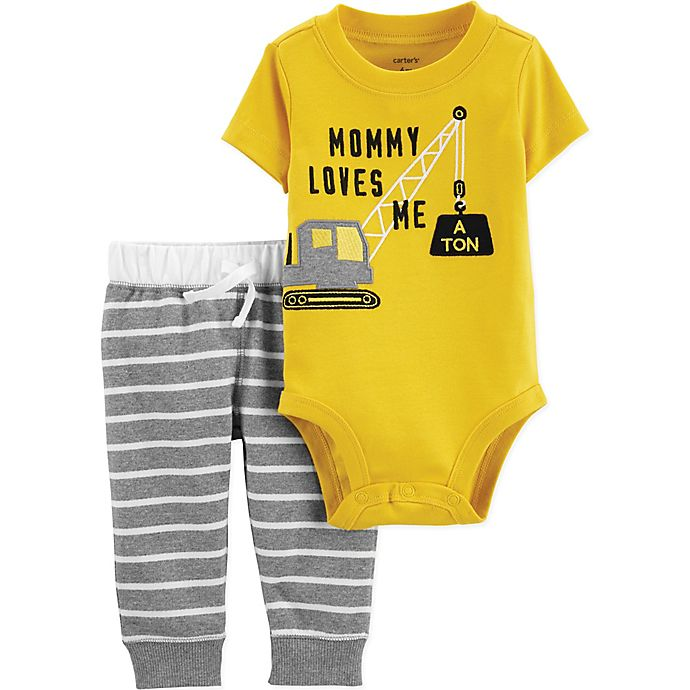 392e16c8bfbe8 carter's® 2-Piece Construction Bodysuit and Pant Set in Yellow/Grey ...