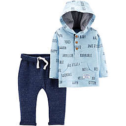 carter's® 2-Piece Slub Jersey Hoodie and Pant Set in Blue