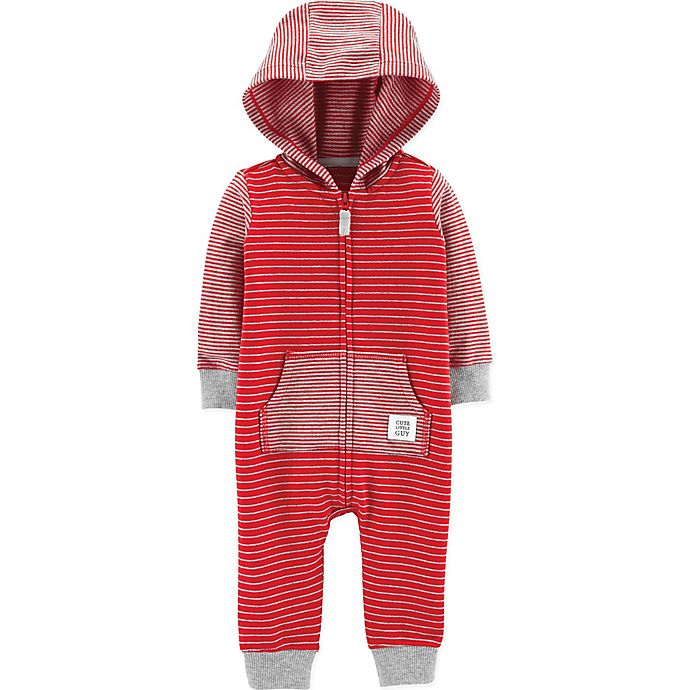 Alternate image 1 for carter's® Size 9M Hooded Stripe Coverall in Red