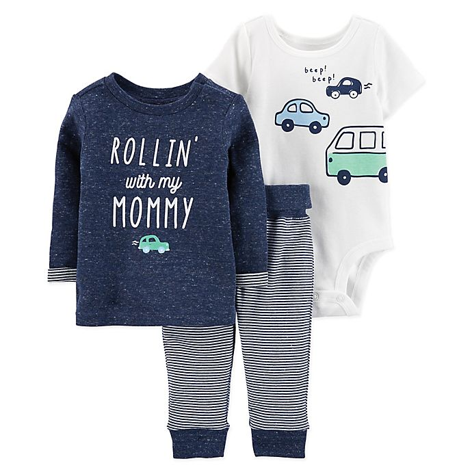Alternate image 1 for carter's® 3-Piece Car Pullover, Bodysuit, and Pant Set in Navy/White
