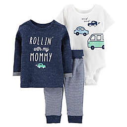 carter's® 3-Piece Car Pullover, Bodysuit, and Pant Set in Navy/White