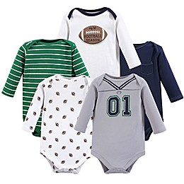 Little Treasures 5-Pack Football Bodysuits in Green