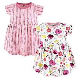Touched by Nature 2-Pack Botanical Short Sleeve Organic Cotton Dresses in Pink
