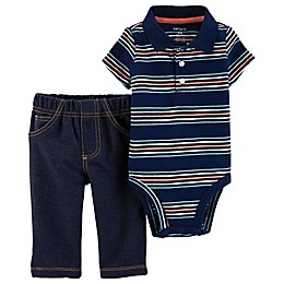 carter's® 2-Piece Polo-Style Bodysuit and Pant Set in Navy