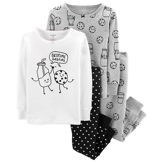 Alternate image 1 for carter's® 4-Piece Milk and Cookies Pajama Set in Black/White