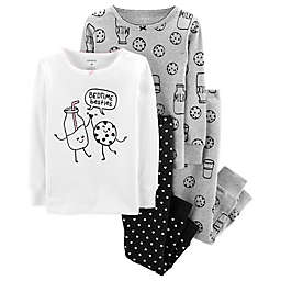 carter's® 4-Piece Milk and Cookies Pajama Set in Black/White