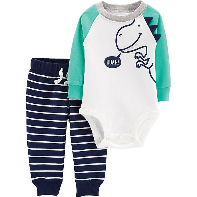 Alternate image 1 for carter's® 2-Piece Dinosaur Bodysuit and Pant Set in Green/White/Blue