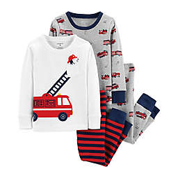 carter's® 4-Piece Fire Truck Pajamas in Grey/White