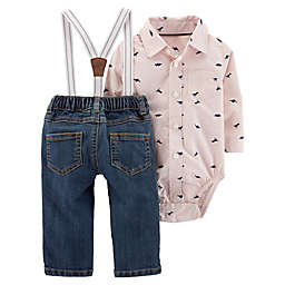 d6dc6bf24f4 carter s® 2-Piece Button-Front Bodysuit and Suspender Jean Set