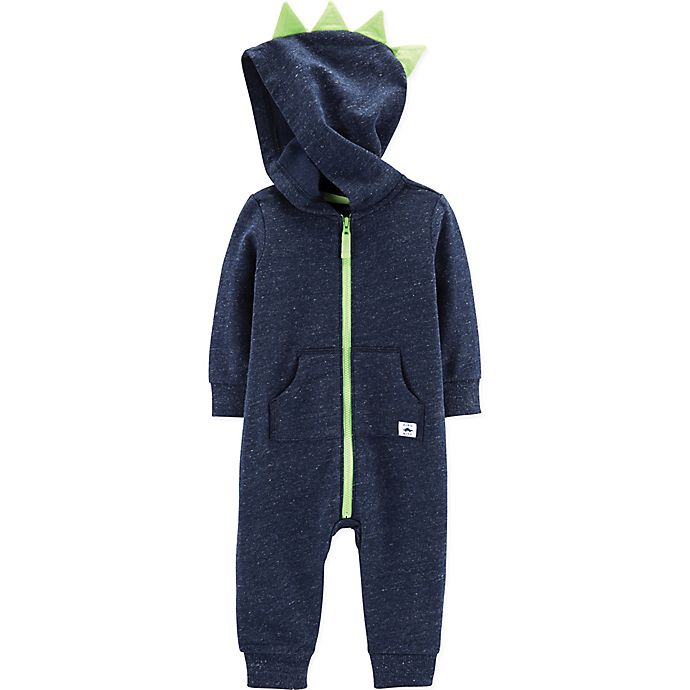 Alternate image 1 for carter's® Size 9M Hooded Dinosaur Coverall in Navy