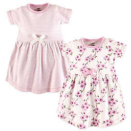 Touched by Nature Size 18-24M 2-Pack Blossom Short Sleeve Organic Cotton Dresses in Pink